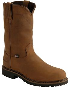 "Justin Men's Wyoming 10"" Waterproof Steel Toe Work Boots, Brown, hi-res"