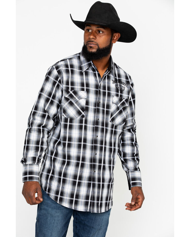 Jack Daniel's Men's Textured Embroidered Plaid Long Sleeve Western Shirt  , Black/tan, hi-res
