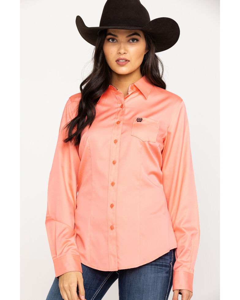 Cinch Women's Pink Solid Long Sleeve Western Shirt, Pink, hi-res