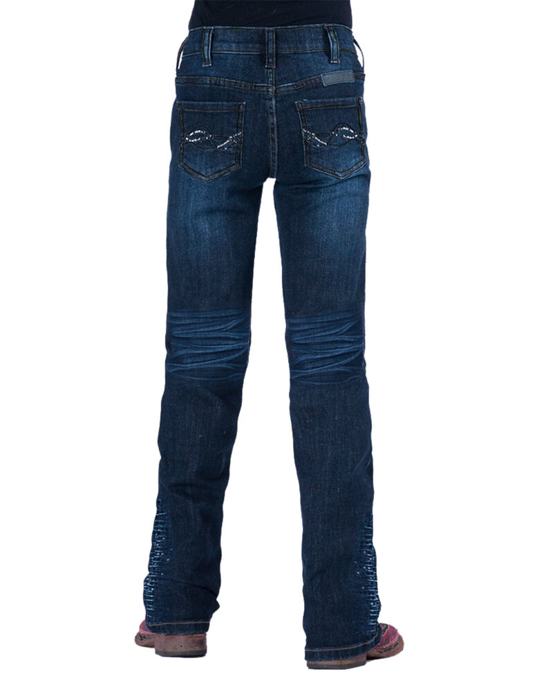 Cowgirl Tuff Girls' Shimmer Blue Jeans, Blue, hi-res