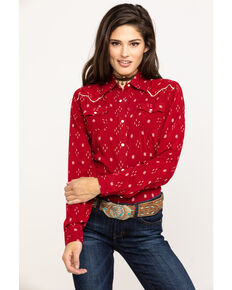 Wrangler Women's Red Ikat Print Long Sleeve Western Shirt, Red, hi-res