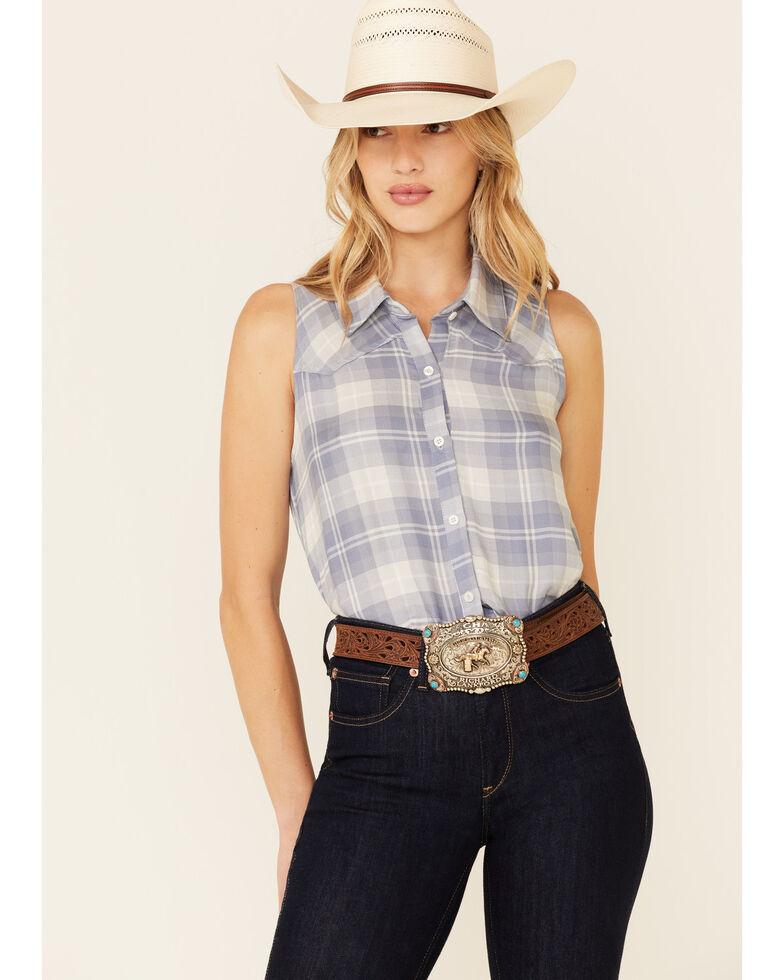 Luna Chix Women's Plaid Sleeveless Button-Down Western Shirt , Blue, hi-res