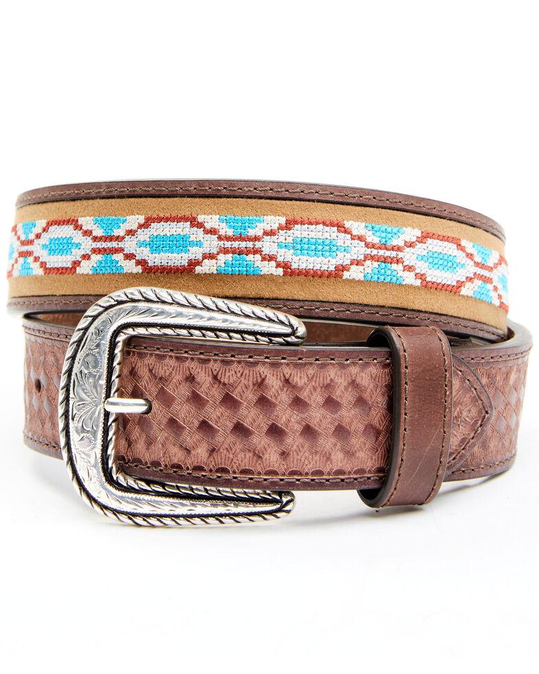 Cody James Men's Aztec Basket Weave Western Belt, Tan, hi-res