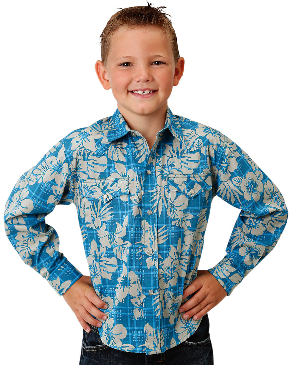 Roper Boys' Tropical Plaid Long Sleeve Western Snap Shirt, Blue, hi-res