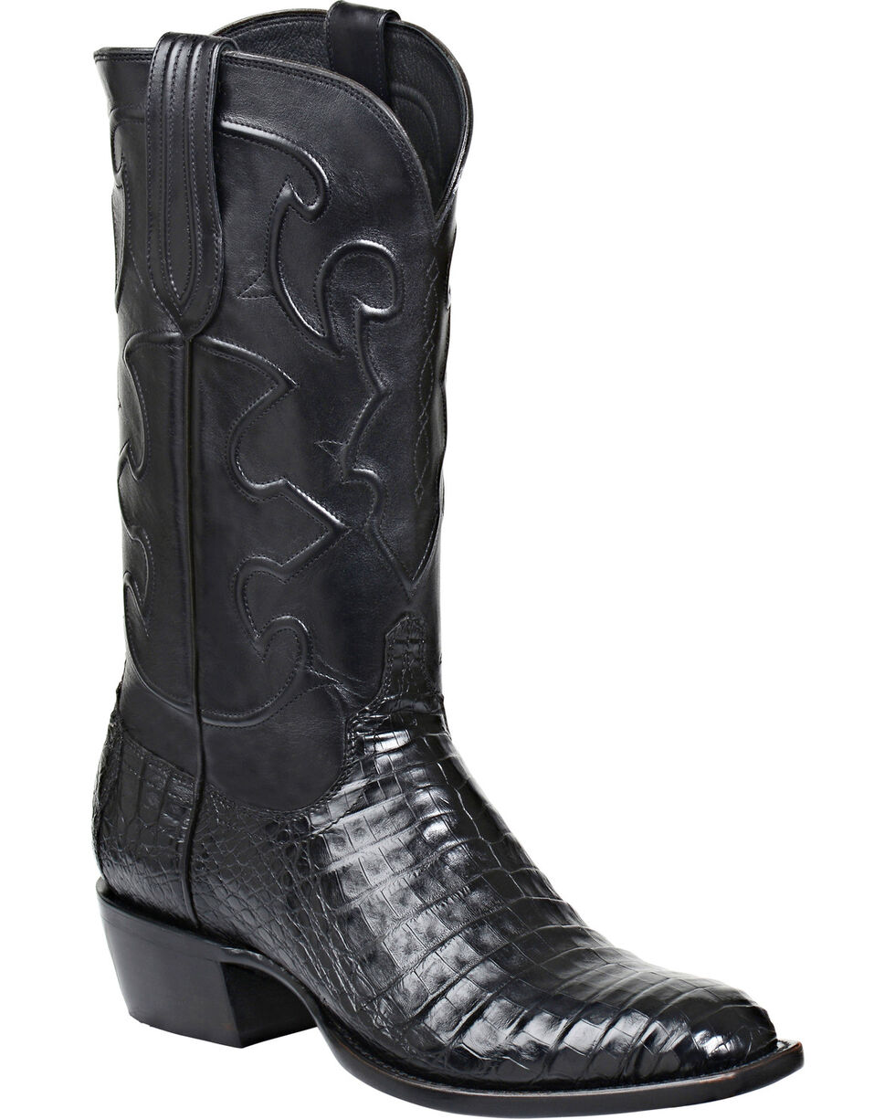 Lucchese Men's Charles Square Toe Crocodile Western Boots, Black, hi-res