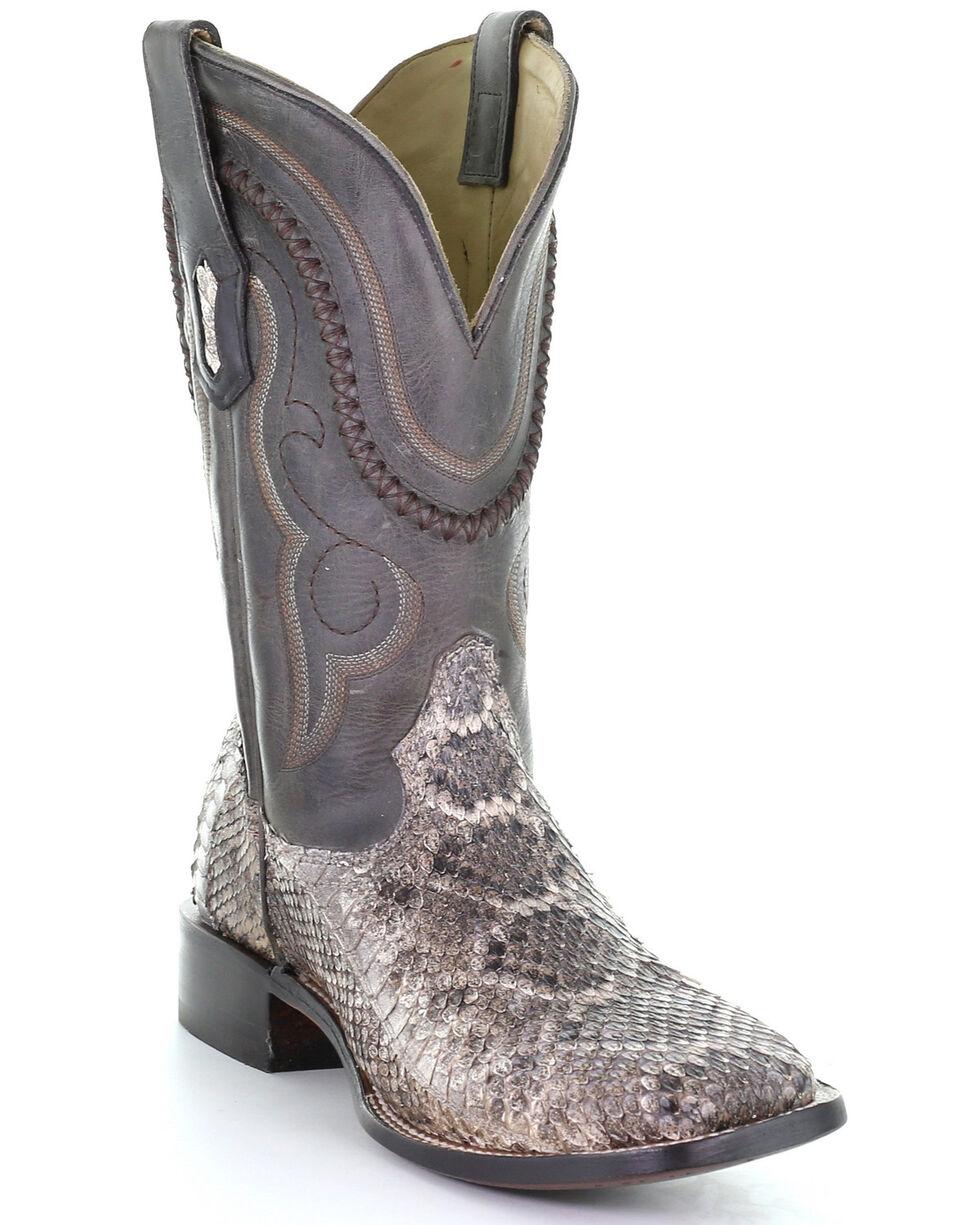 Mens Exotic Python Snakeskin Western Cowboy Boots Natural Tone J Toe