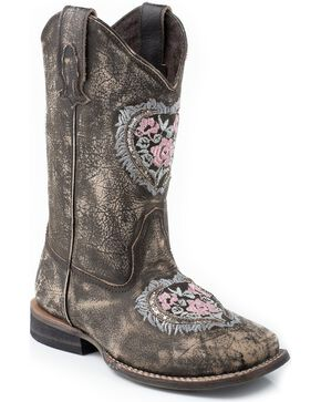 Roper Kid's Floral Heart Western Boots, Brown, hi-res