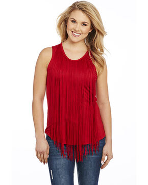 Cowgirl Up Women's Fringe Trim Sleeveless Top, Red, hi-res