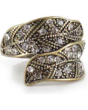 Shyanne® Women's Antiqued Gold-Tone Feather Ring, Gold, hi-res