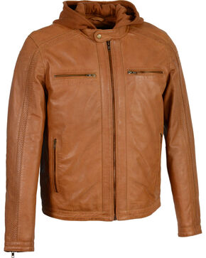 Milwaukee Leather Men's Zipper Front Leather Jacket w/ Removable Hood - Big - 3X, Tan, hi-res
