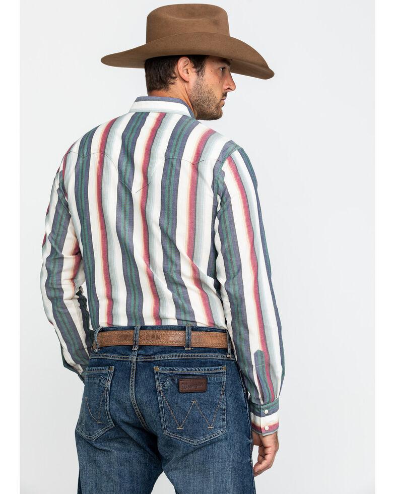 Wrangler Retro Men's Ivory Multi Striped Long Sleeve Western Shirt , Ivory, hi-res