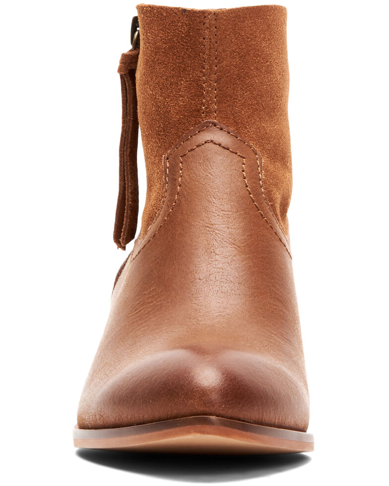 Frye & Co. Women's Cognac Rubie Side Zip Leather Booties - Round Toe , Cognac, hi-res