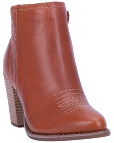 Dingo Women's Call Back Zipper Fashion Booties - Round Toe, Cognac, hi-res