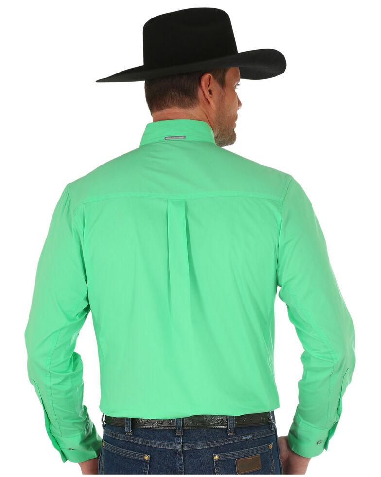 Wrangler Men's Green Soild Performance Long Sleeve Western Shirt , Green, hi-res