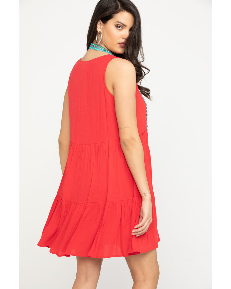 Wrangler Women's Red Tiered Dress, Red, hi-res