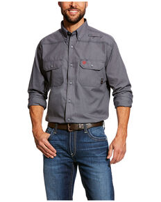 Ariat Men's FR Featherlight Button Long Sleeve Work Shirt - Big , Grey, hi-res