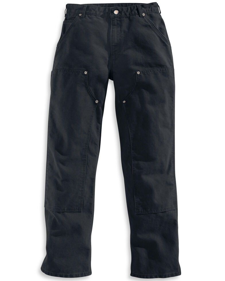 Carhartt Men's Double Front Washed Dungaree work Pants, Black, hi-res