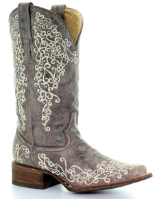 Corral Women's Crater Embroidery Western Boots, Brown, hi-res