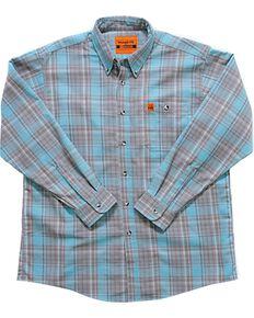 Wrangler Men's Flame-Resistant Plaid Long Sleeve Work Shirt - Big , Turquoise, hi-res