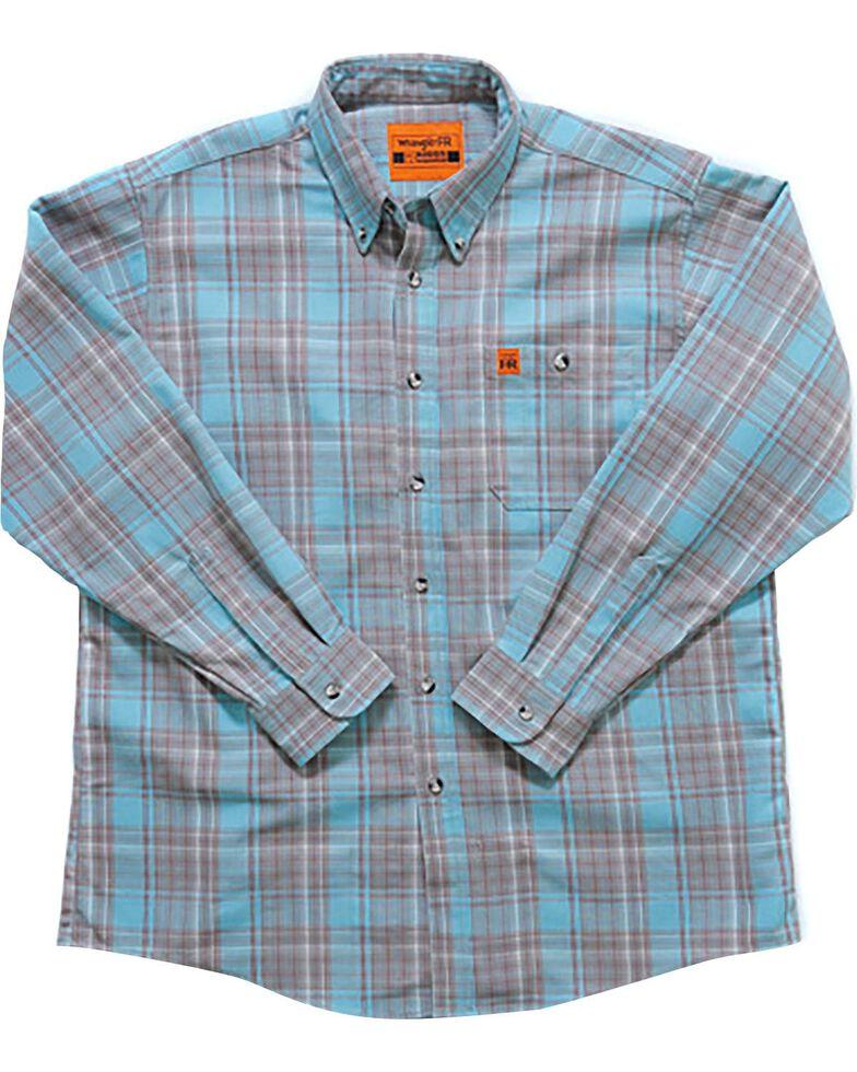 Wrangler Men's Flame-Resistant Plaid Long Sleeve Work Shirt - Big , Turquoise, hi-res