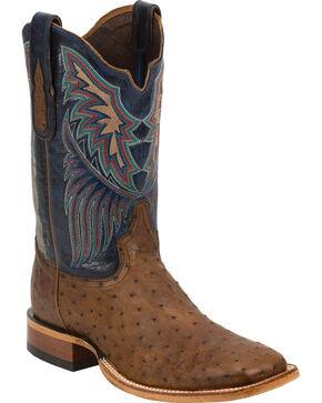 Tony Lama Men's Full Quill Ostrich Exotic Boots, Tan, hi-res