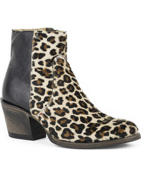 Stetson Women's Cheetah Short Western Boots - Round Toe, Black, hi-res