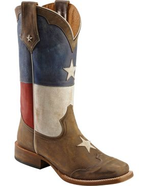 Roper Men's Americana Texas Flag Square Toe Western Boots, Brown, hi-res