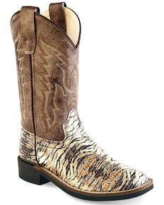 Old West Boys' Faux Leather Western Boots - Wide Square Toe, Brown, hi-res
