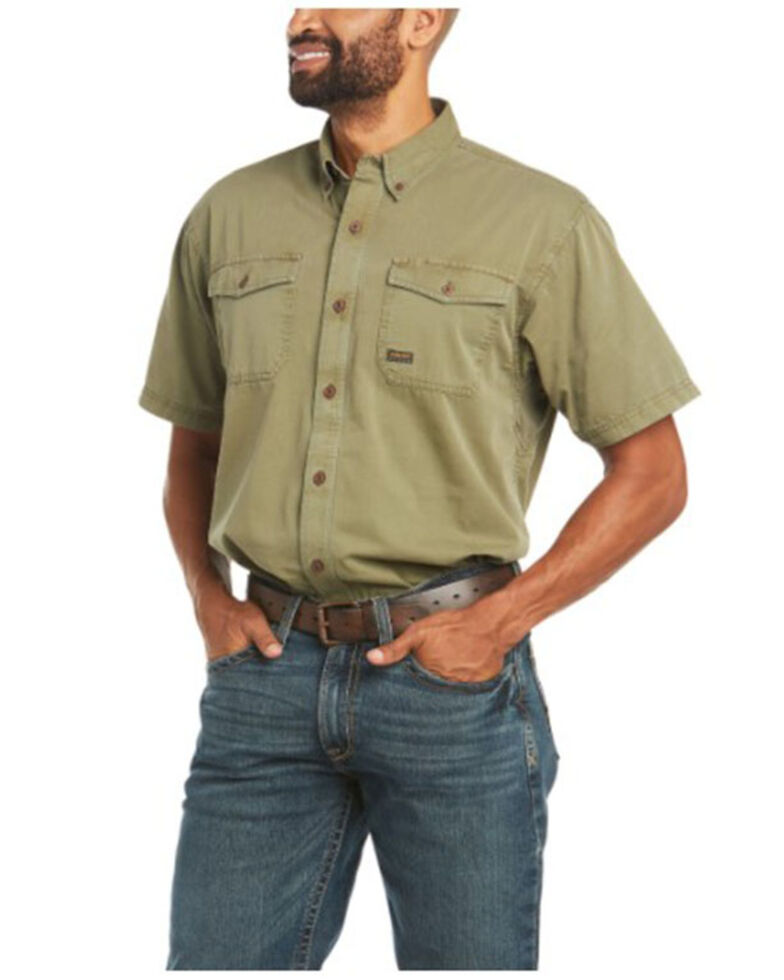 Ariat Men's Brown Sage Rebar Washed Twill Button-Down Short Sleeve Work Shirt , Sage, hi-res