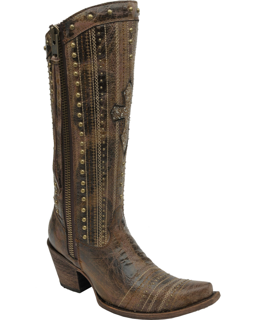 Corral Boots Women's Crystal Cross and Studs Western Boots, Brown, hi-res