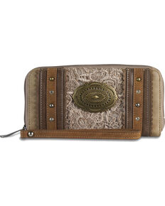 Justin Women's Lace Concho Zip Closure Wallet, Tan, hi-res