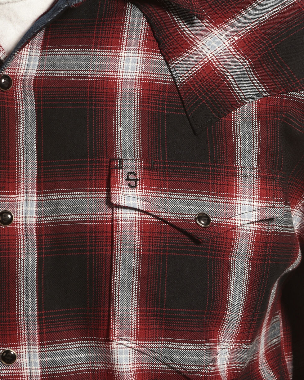 Stetson Men's Red Plaid Long Sleeve Western Shirt, Red, hi-res