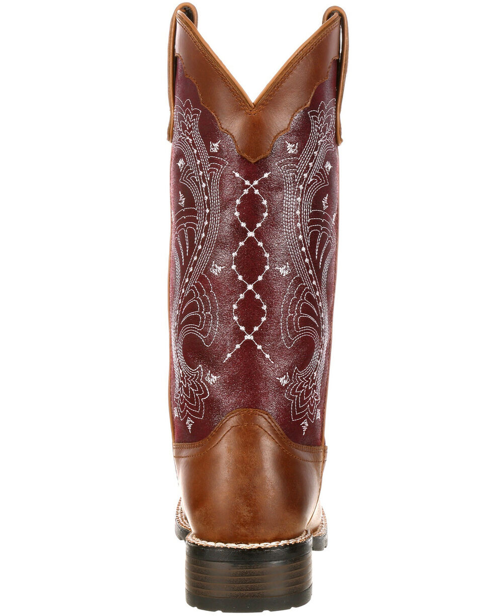 Durango Women's Mustang Western Boots - Wide Square Toe, Brown, hi-res