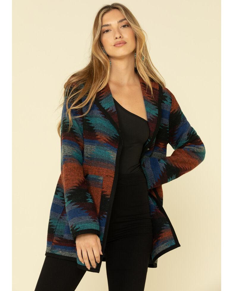 Cripple Creek Women's Navajo Blanket Shawl Collar Jacket, Turquoise, hi-res