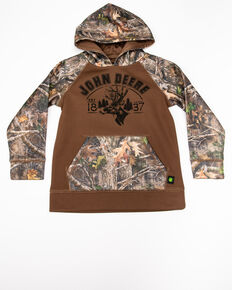 John Deere Boys' 1837 Camo Deer Head Hooded Sweatshirt , Brown, hi-res