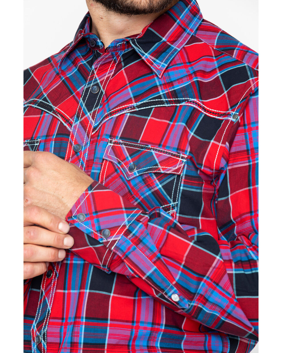 Rock 47 by Wrangler Men's Classic Large Plaid Shirt , Red, hi-res