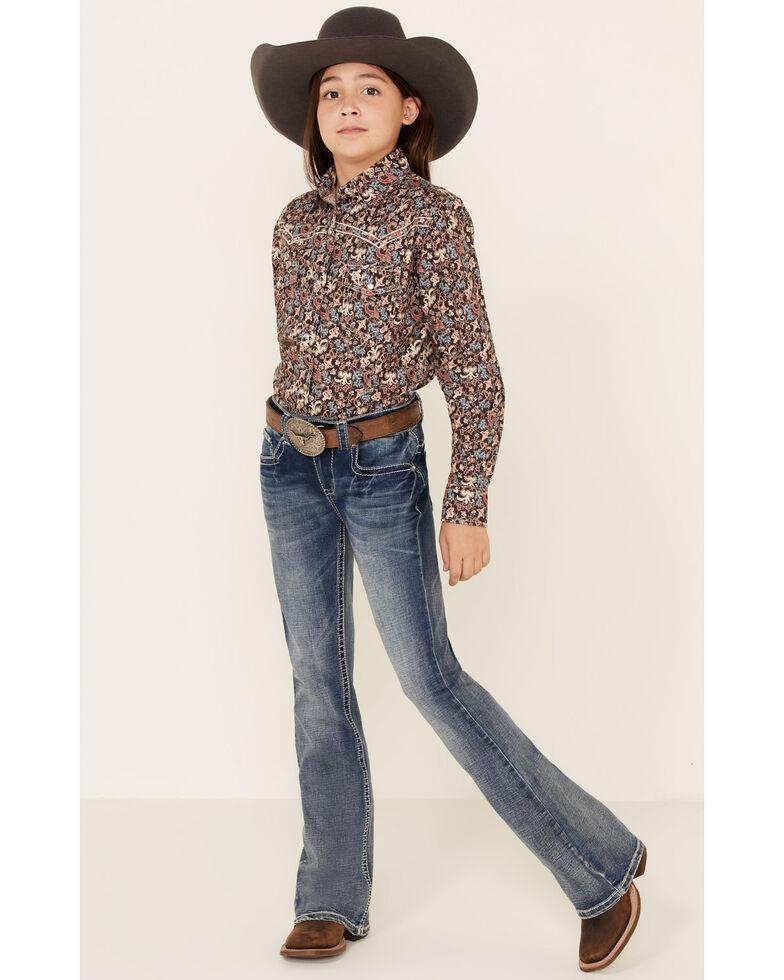 Shyanne Girls' 7-16 Light Aztec Faux Flap Pocket Bootcut Jeans , Blue, hi-res