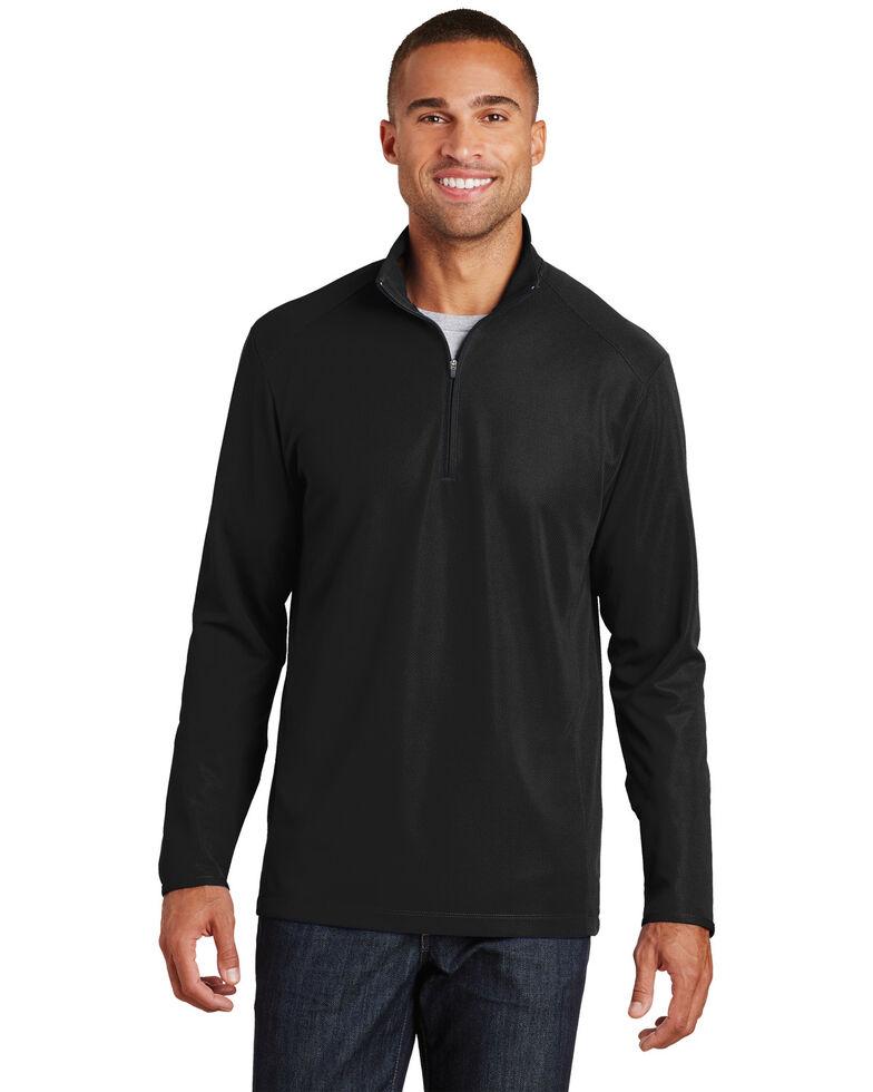 Port Authority Men's Black Pinpoint Mesh 1/2 Zip Pullover Work Sweatshirt , Black, hi-res