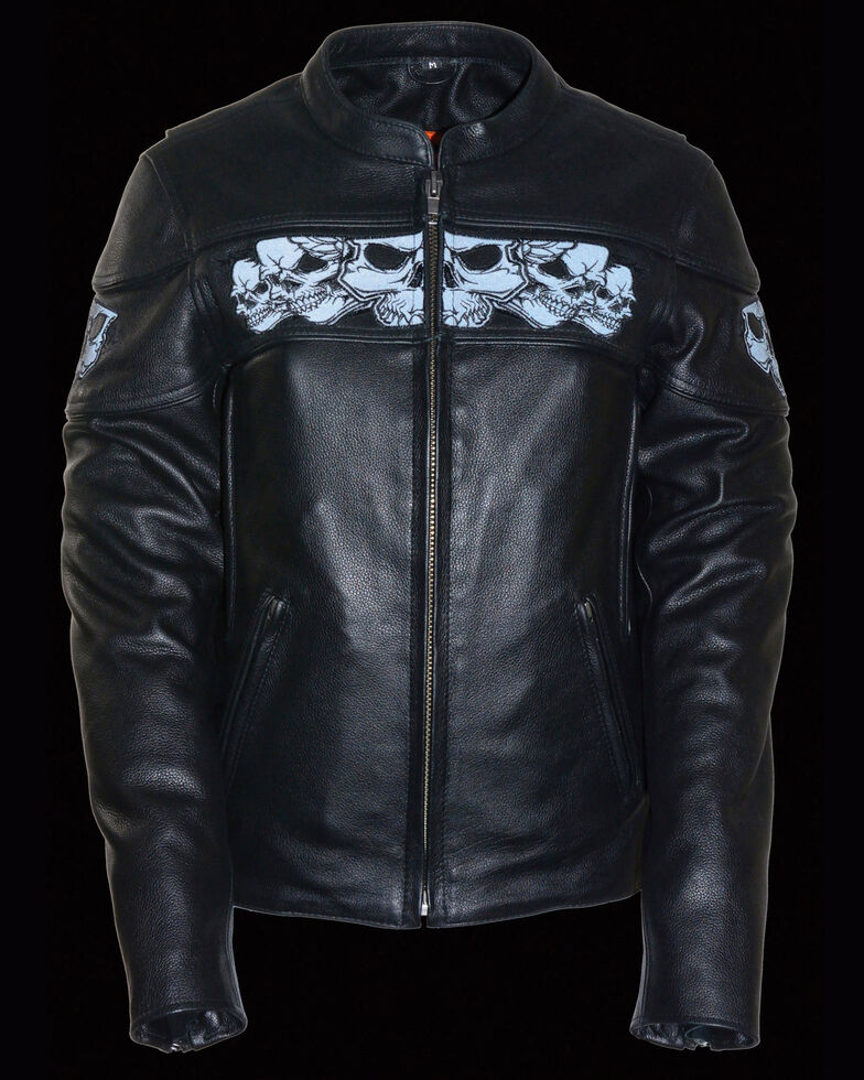 Milwaukee Leather Women's Reflective Skull Crossover Scooter Leather Jacket, Black, hi-res