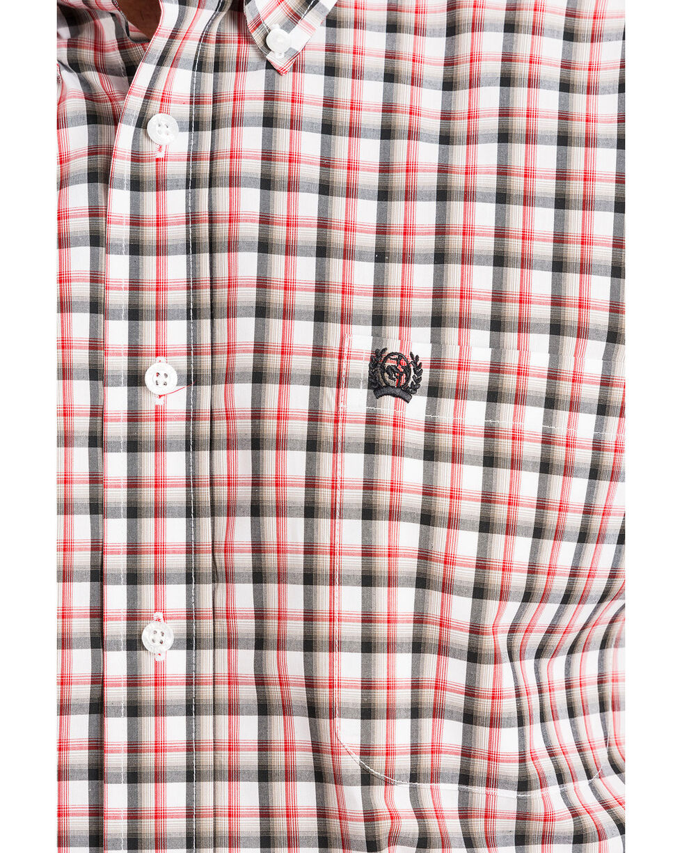 Cinch Men's White Small Plaid Button Long Sleeve Western Shirt , White, hi-res