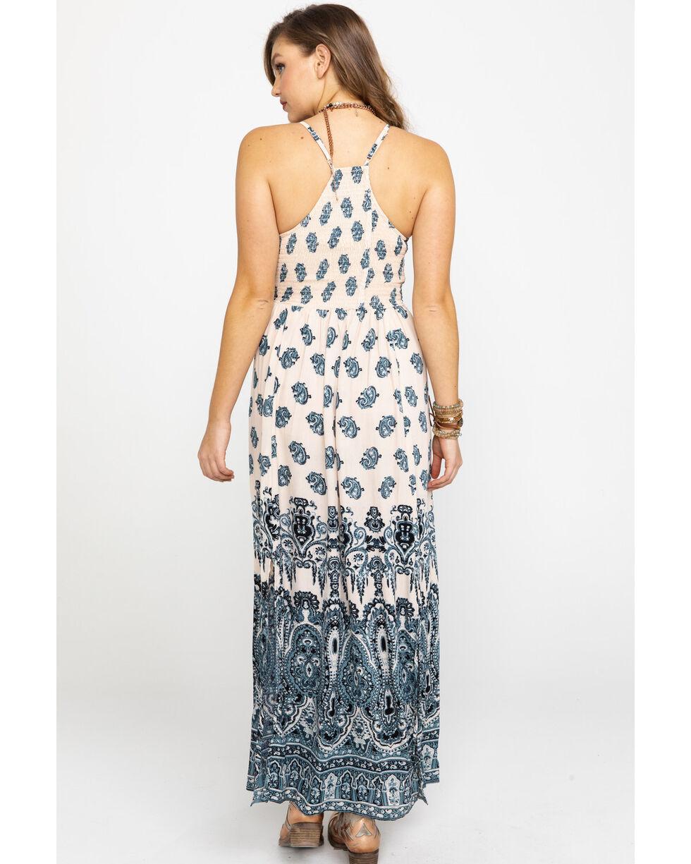 Angie Women's Cream & Blue Paisley Print Maxi Dress, Blue, hi-res