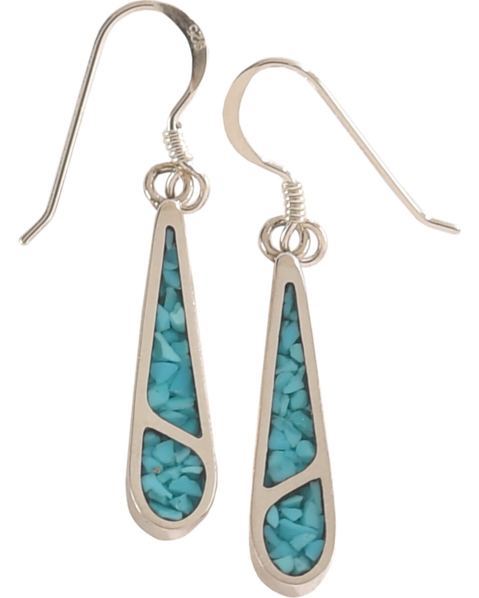 Silver Legends Women's 2 Channel Turquoise Dangle Earrings , Turquoise, hi-res