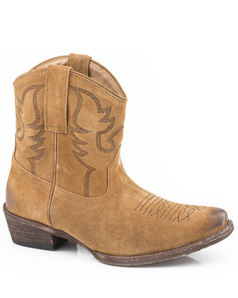 Roper Women's Dusty II Suede Western Booties - Snip Toe, Tan, hi-res