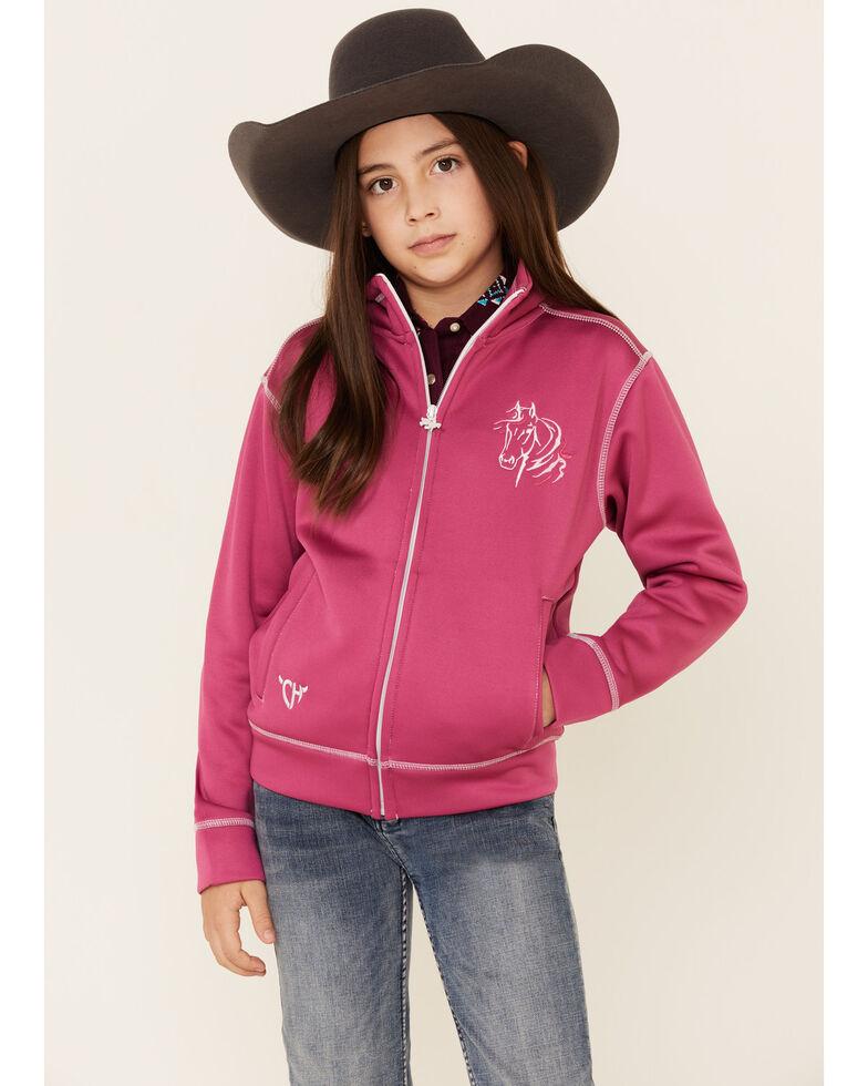 Cowgirl Hardware Girls' Hot Pink Bella Horse Zip-Front Jacket , Pink, hi-res