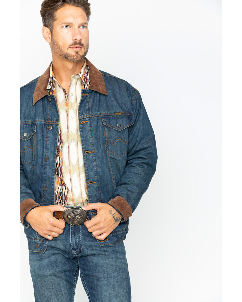 Wrangler Men's Concealed Carry Blanket Lined Denim Jacket , Indigo, hi-res