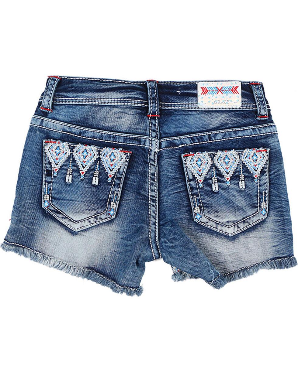 Grace in LA Girls' Aztec Embroidered Cutoff Shorts, Blue, hi-res