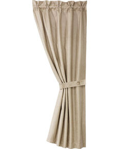 HiEnd Accents Coordinating Faux Leather Curtain With Tie Back, Cream, hi-res