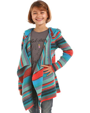 Rock & Roll Cowgirl Girls' Serape Hooded Cardigan, Multi, hi-res