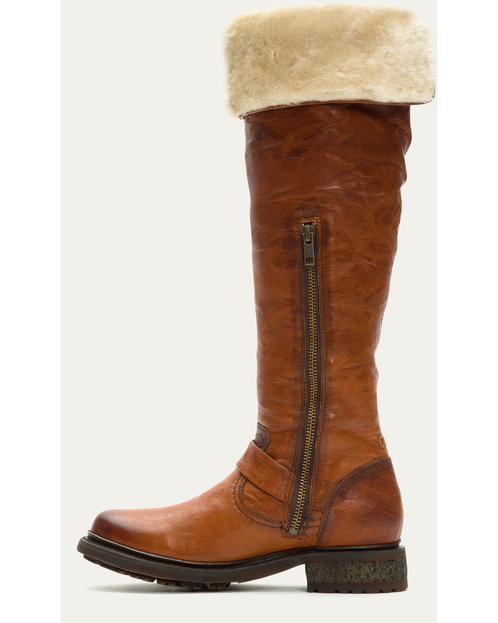 Frye Women's Cognac Valerie OTK Shearling Tall Boots - Round Toe , Cognac, hi-res