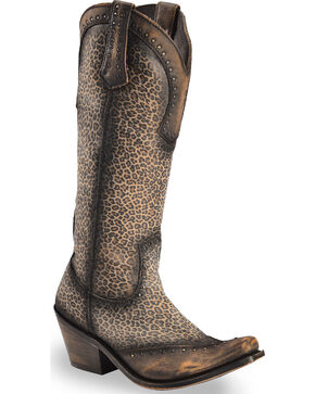 Liberty Black Women's Brown Micro Jaguar America T-Moro Boots - Narrow Square Toe , Brown, hi-res